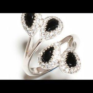 Black Onyx White Topaz Ring